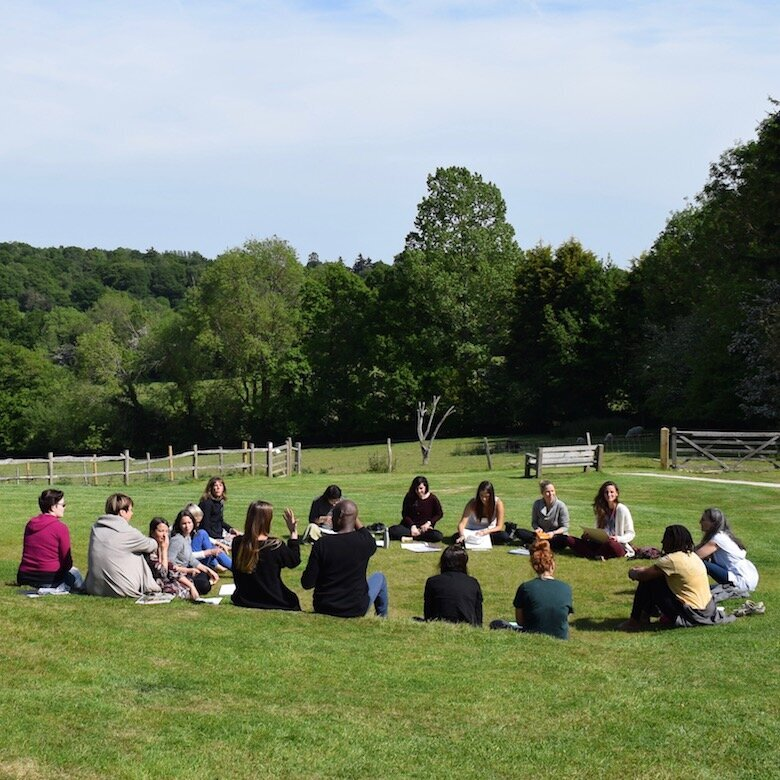 Naturopathy students gathering for an outdoor class