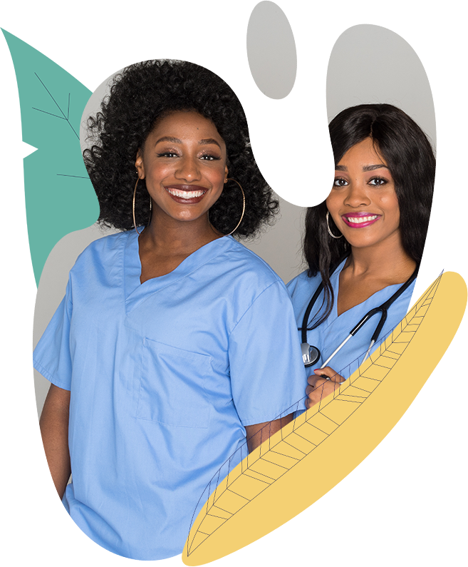 two black smiling nurses