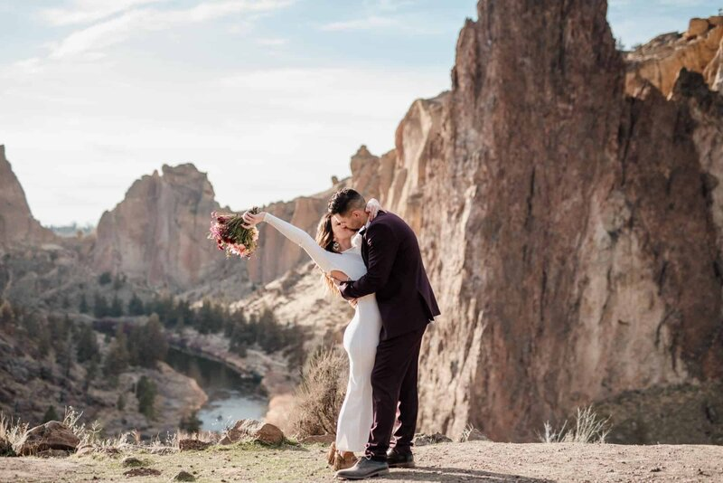 A couple celebrates getting married at Smith Rock State Park