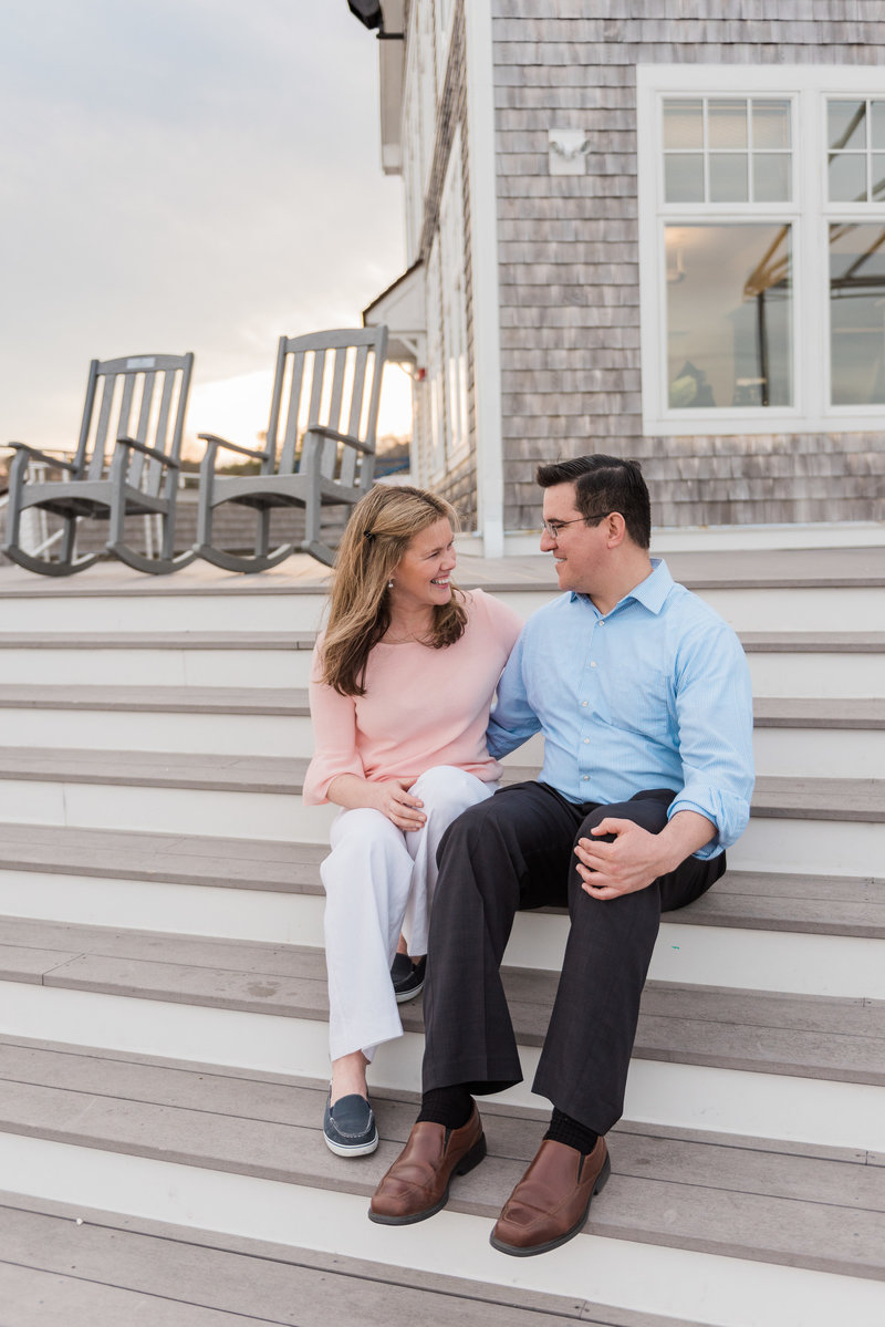 Engagement photos taken at duxbury bay maritime school in duxbury massachusetts