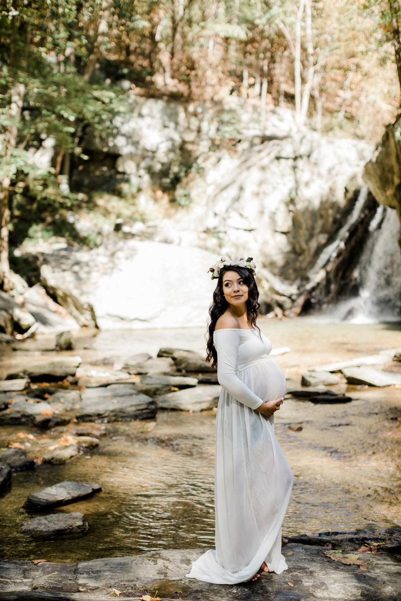 Kilgore Falls Maternity Session Maryland Waterfalls