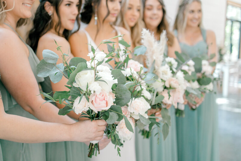 Sage and pink wedding details photographed by Marissa Merritt Photography