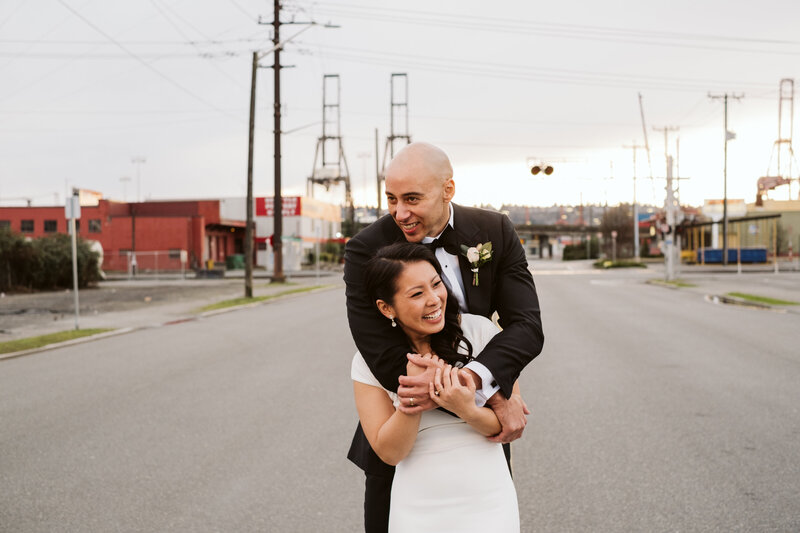 Stephanie and Duse in downtown seattle for their wedding at the metropolist