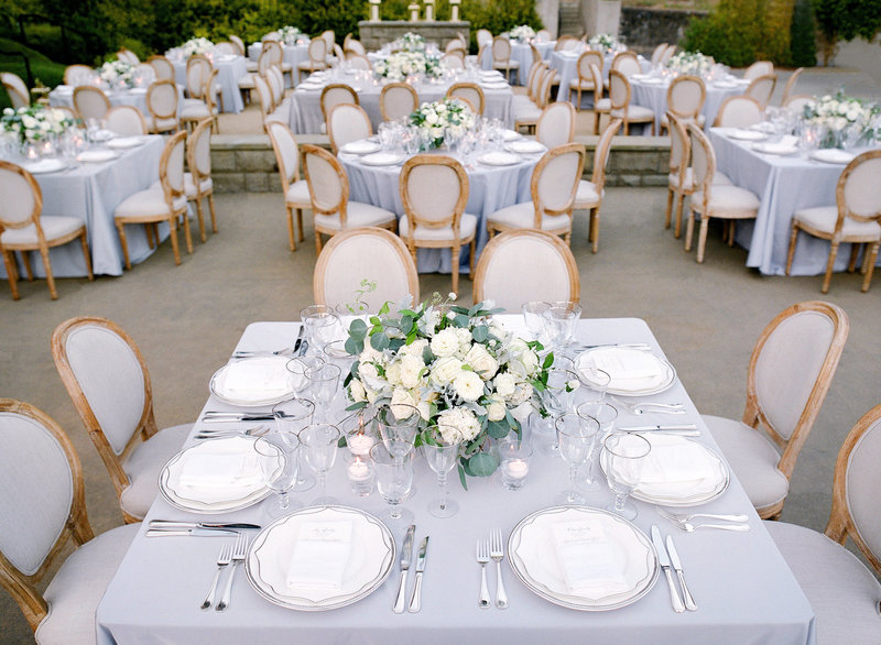 Tablescape for wedding by Jenny Schneider Events at Cavallo Point luxury resort in Sausalito in Marin County, California. Photo by Lacie Hansen Photography.