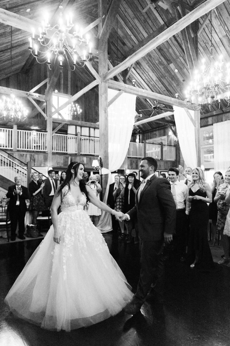Black and white photo during first dance