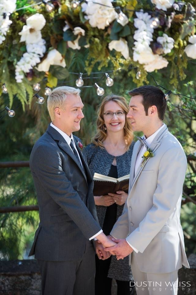Noah and Josh exchange vows during a same-sex wedding officiated by Donna Forsythe of Lehigh Valley Celebrants