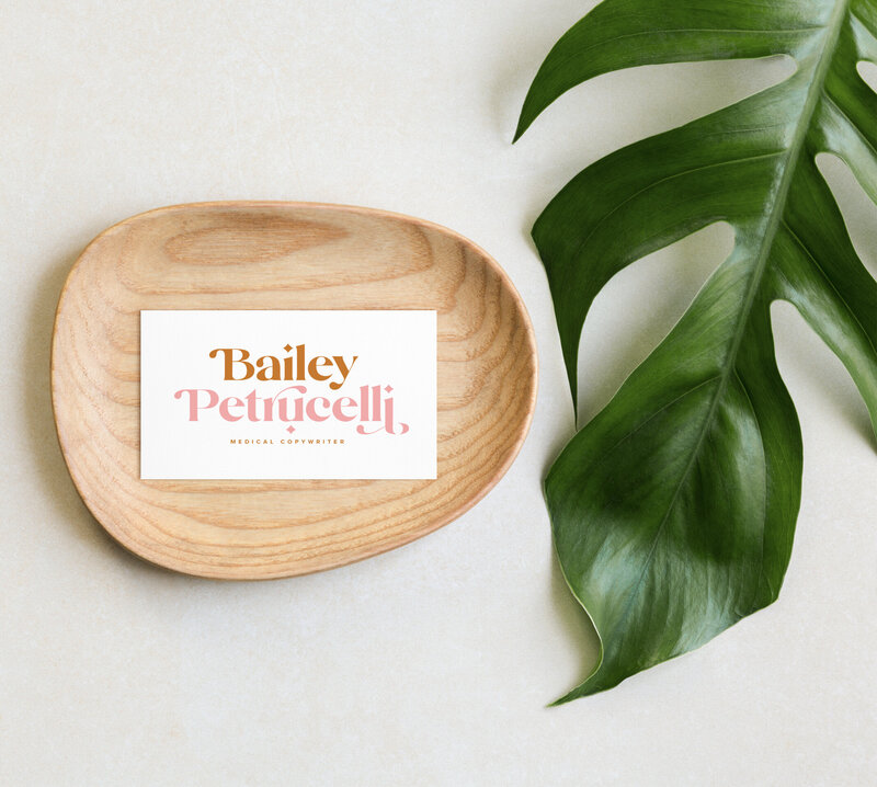 Business card for medical copywriter Bailey Petrucelli