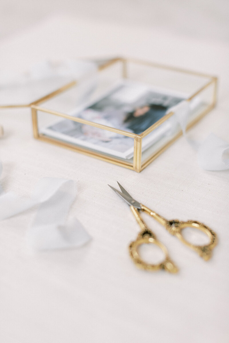 Fine ribbon, gold vintage scissors, and newborn photos in gold, glass box.