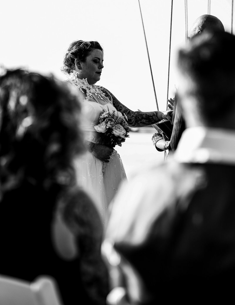 View of a bride during an Erie Yacht Club wedding