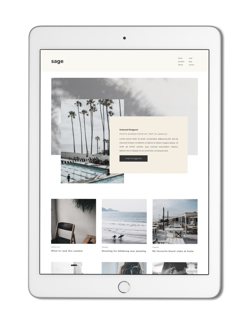 The Roar Showit Web Design Creative Website Business Template Ipad Sage 1