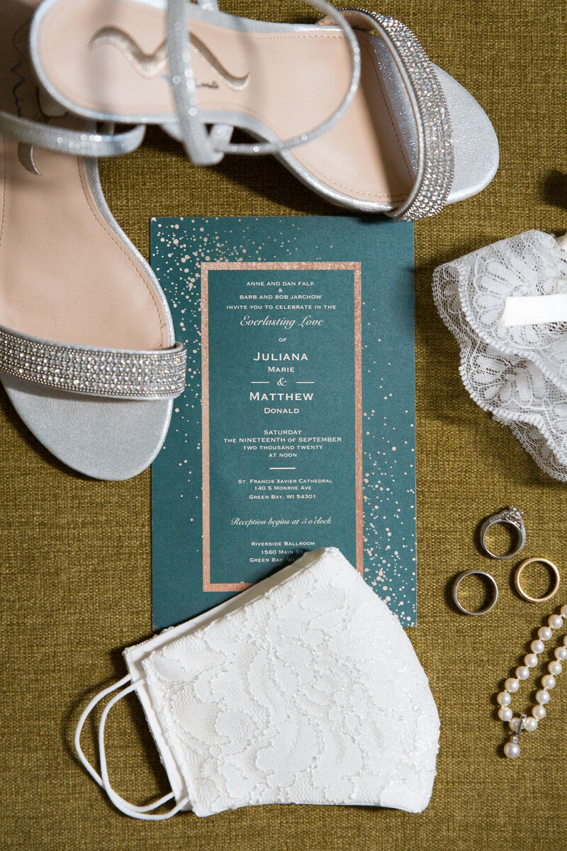shoes, rings, invitation suite of detroit wedding