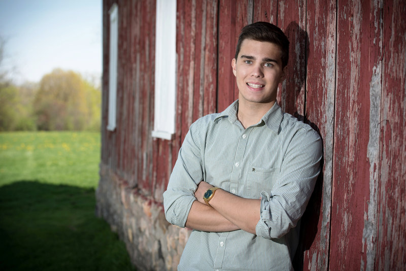 leroy-oaks-forest-preserve-red-barn-wood-stone-senior-portrait-St. Charles-Illinois