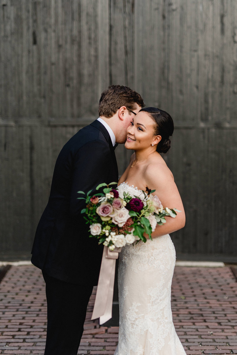 Steamwhistle Brewery Modern Romantic Bride Groom Portrait Sunset Downtown Toronto CN Tower - Jacqueline James Photography