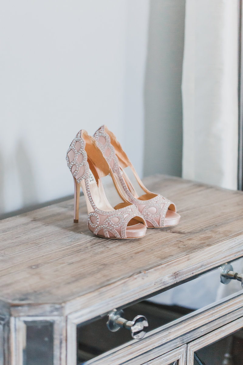 A detail shot of the bride's heels for the wedding day
