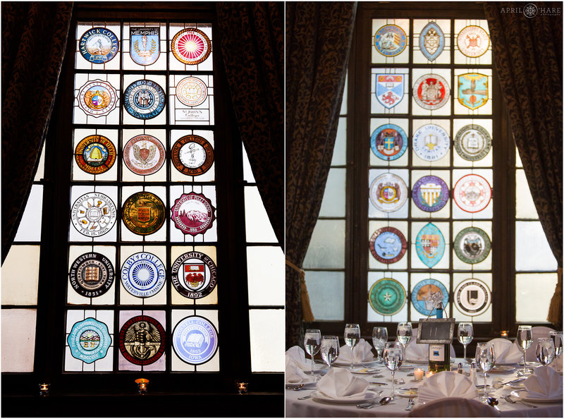 Stained-Glass-Windows-at-University-Club-Wedding-Reception-in-Denver