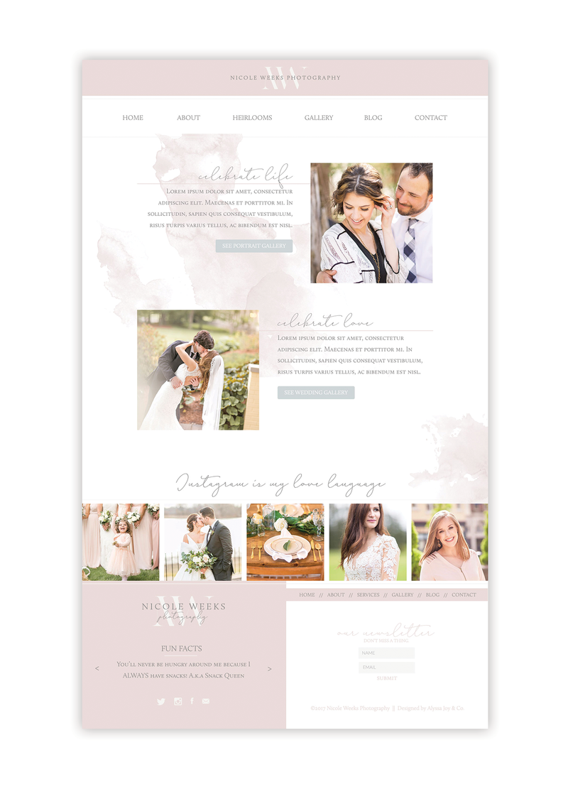 Alyssa Joy & Co. Brand & Web Designer for Creatives & Small Businesses || Nicole Weeks Photography Showit5 Website