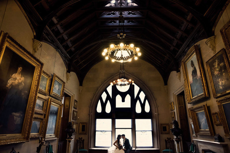 Bride  and groom portraits at lyndhurst castle wedding photos
