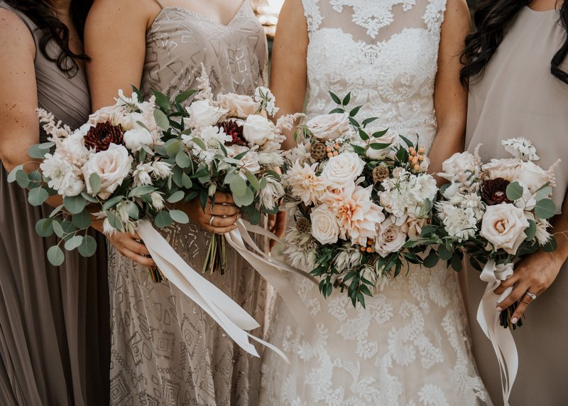 Blush wedding Rose bridal bouquets