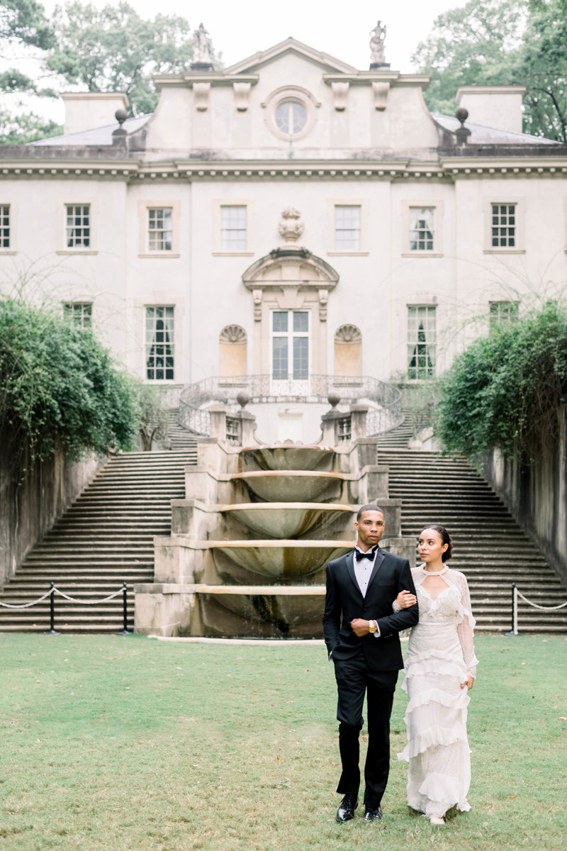 Fine art chic and sophisticated wedding with old world details on film with Alon Livne White wedding gown by Liz Andolina Photography
