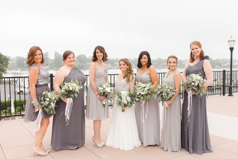 Bride and bridesmaids in summer wedding