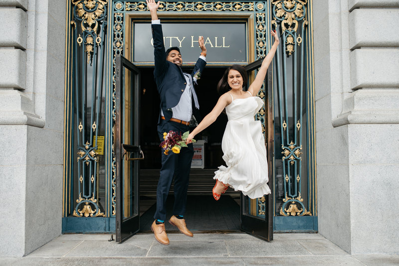 Jumping shot right outside San Francisco City Hall  doors