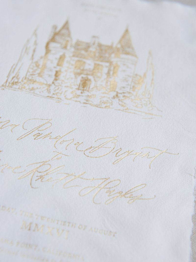 Semi-Custom Invitations - Romantic Chateau Collection Save the Date with Custom Venue Illustration Closeup