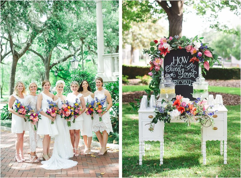 colorful whimsical savannah wedding drink station
