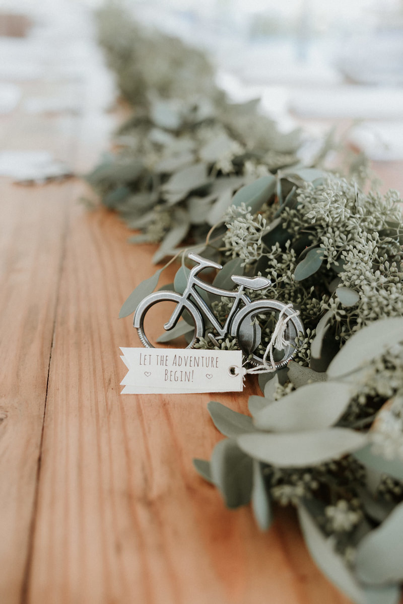 Let the Adventure Begin Wedding Details Bike Ornament