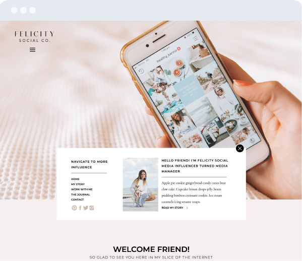 felicity showit template screen mockup