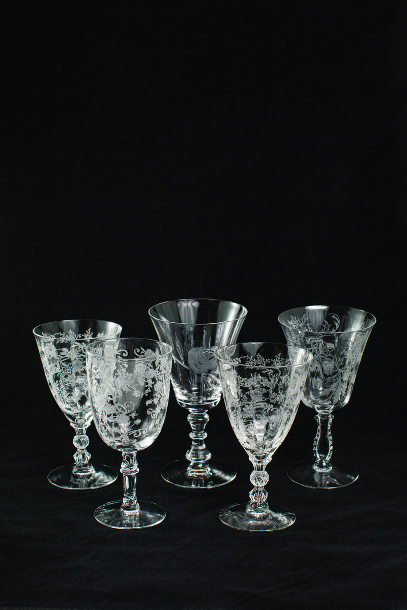 Vintage Etched Water Glasses