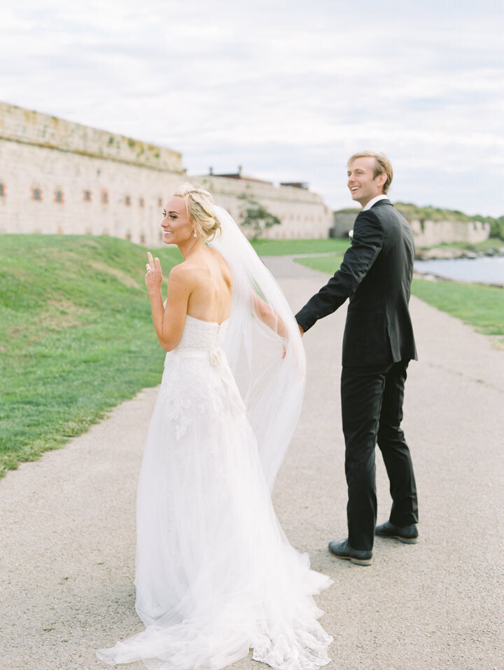 bride and groom wedding photos at fort adams in newport ri