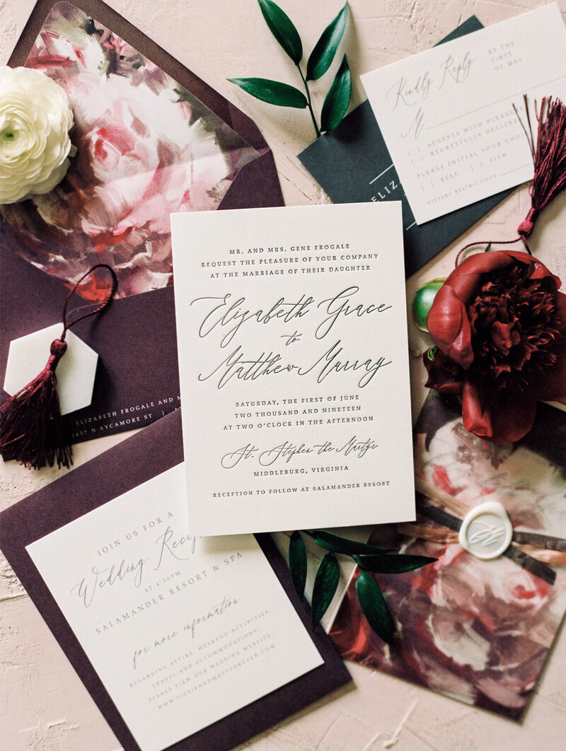 Burgundy and Pink Floral Wedding Invitation