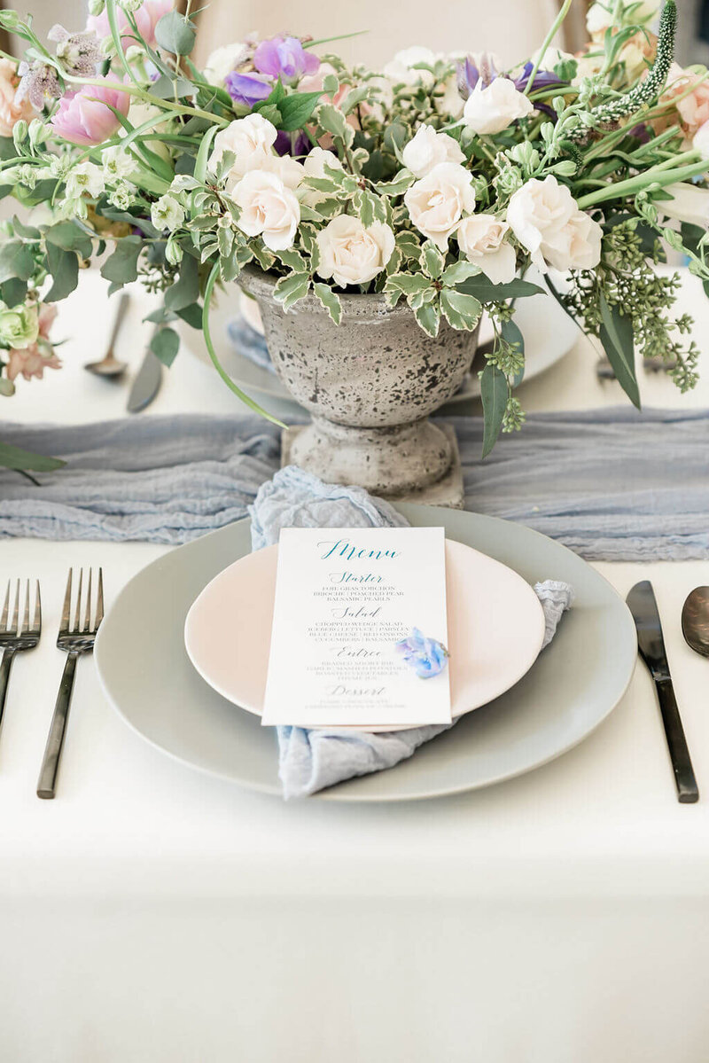 Blue and lilac wedding at Firefly Gardens