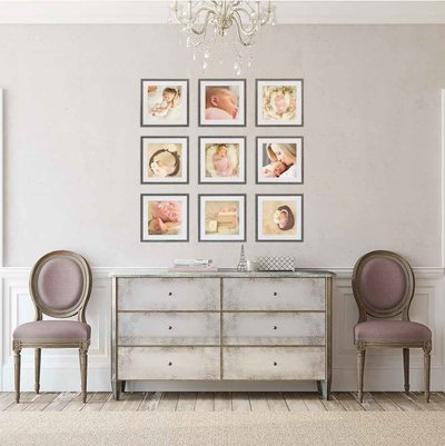 Sky 9 Studio | 9 image gallery wall in Restoration Hardware style entryway with photos of newborn baby girl in neutral cream and mauve tones