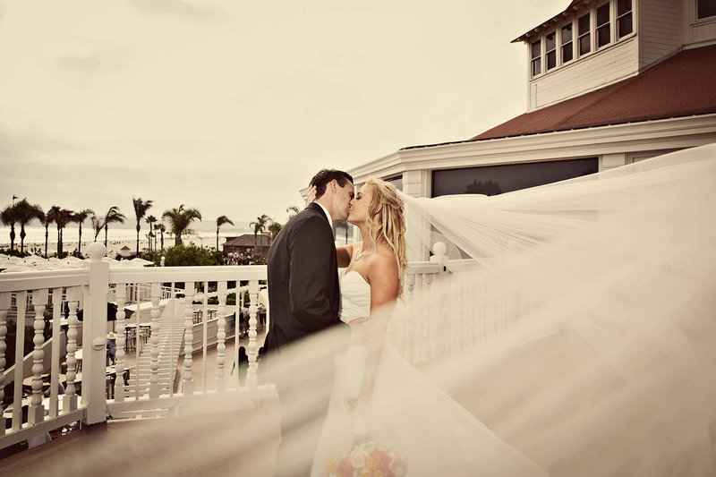 Coronado Hotel Del wedding photos bride with blowing veil