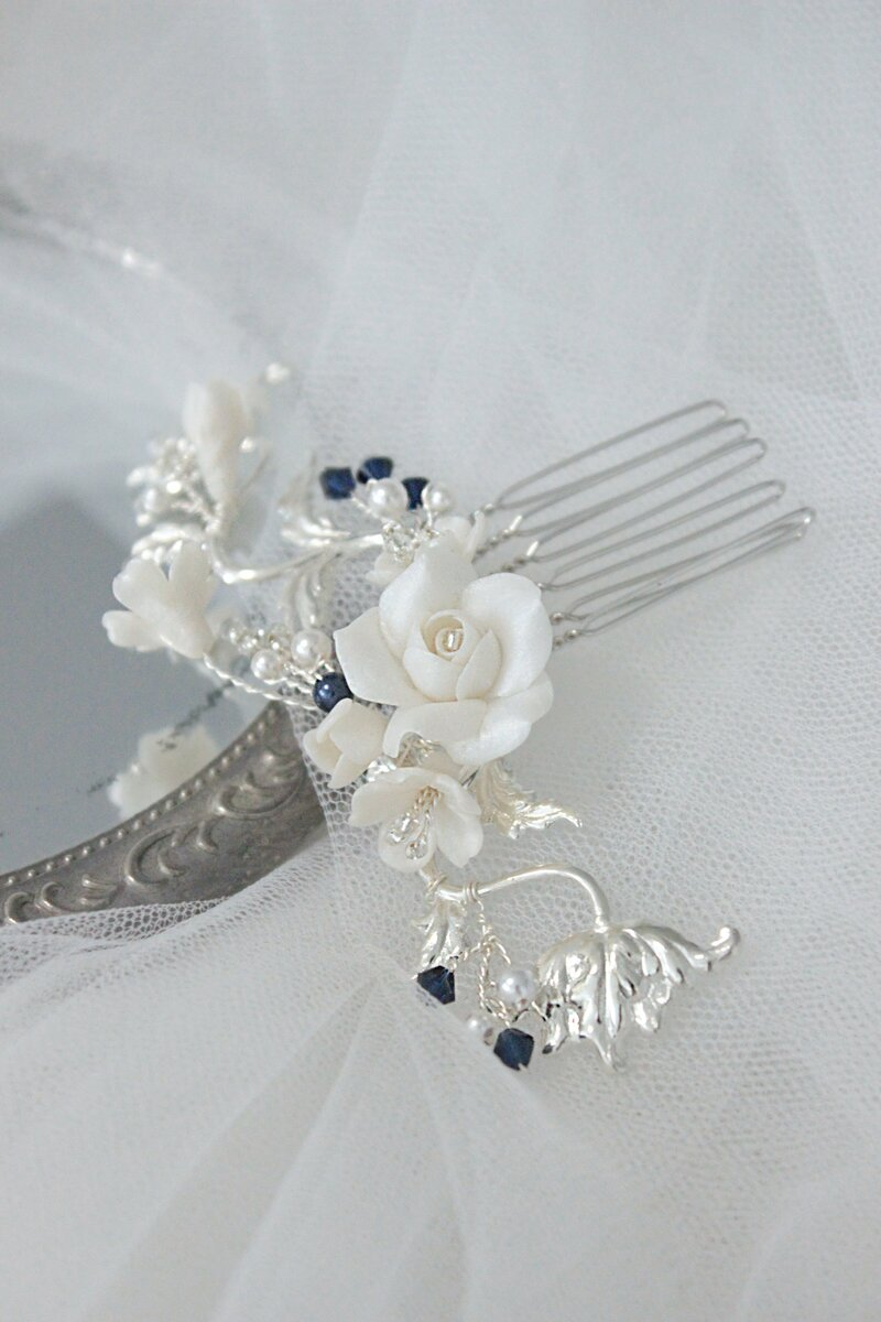 floral bridal comb with blue crystal in Australia