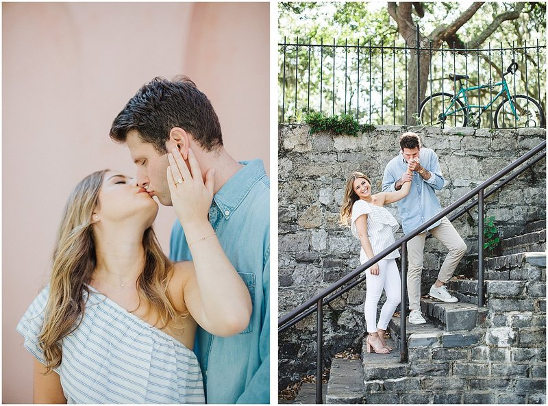 downtown savannah engagement session