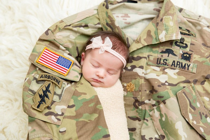 baby with army uniform
