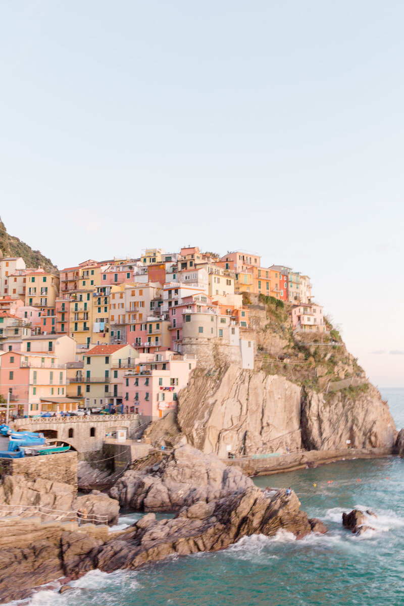 Manarola, Cinque Terre captured by Destination wedding photographer Laura Watson.