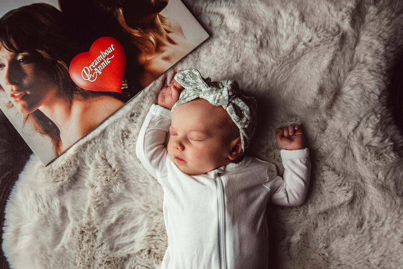 newborn girl with dreamboat annie record