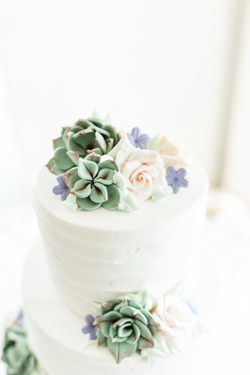 wedding cake with succulent decor