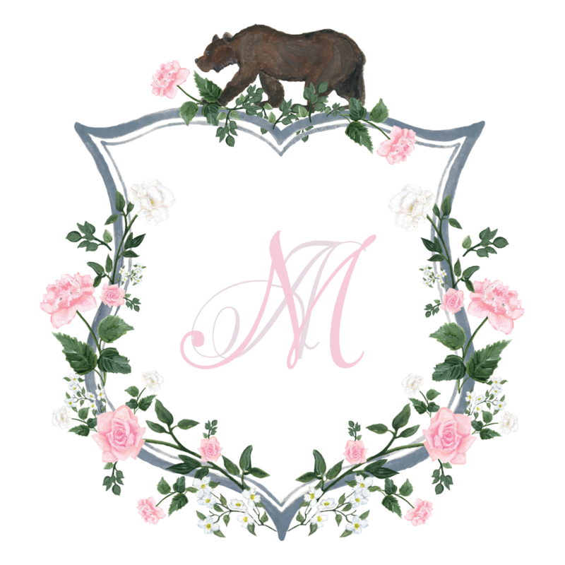 Custom California wedding crest with spring florals and California state bear