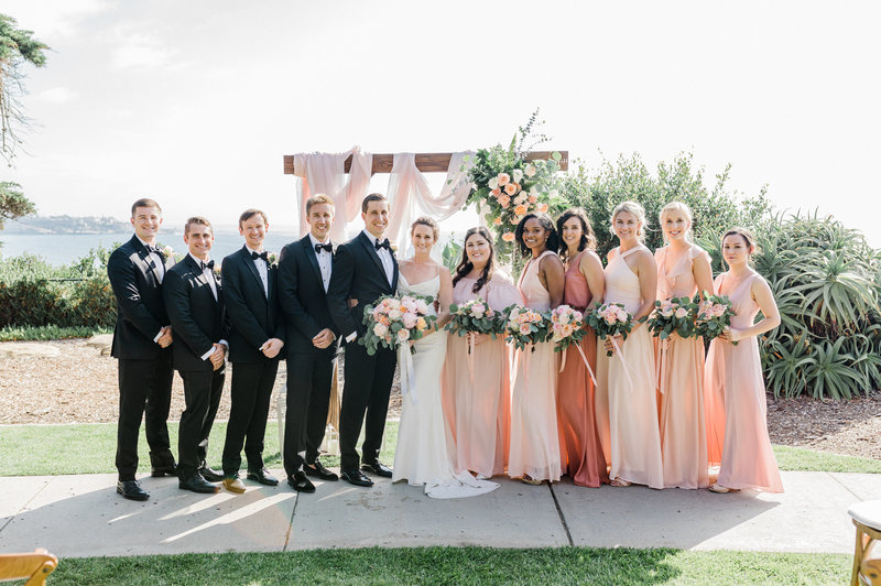 wedding party  portraits at Martin Johnson House in San Diego