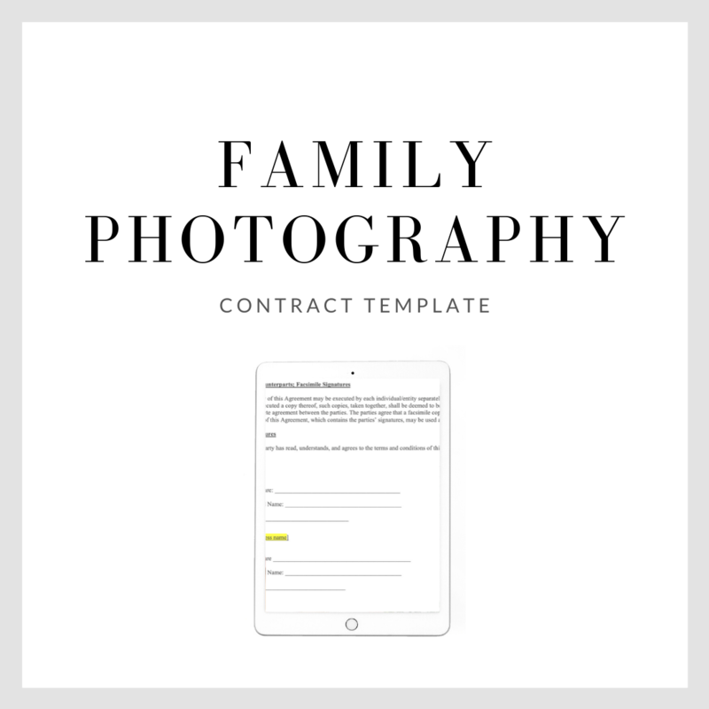 Family Photography Contract