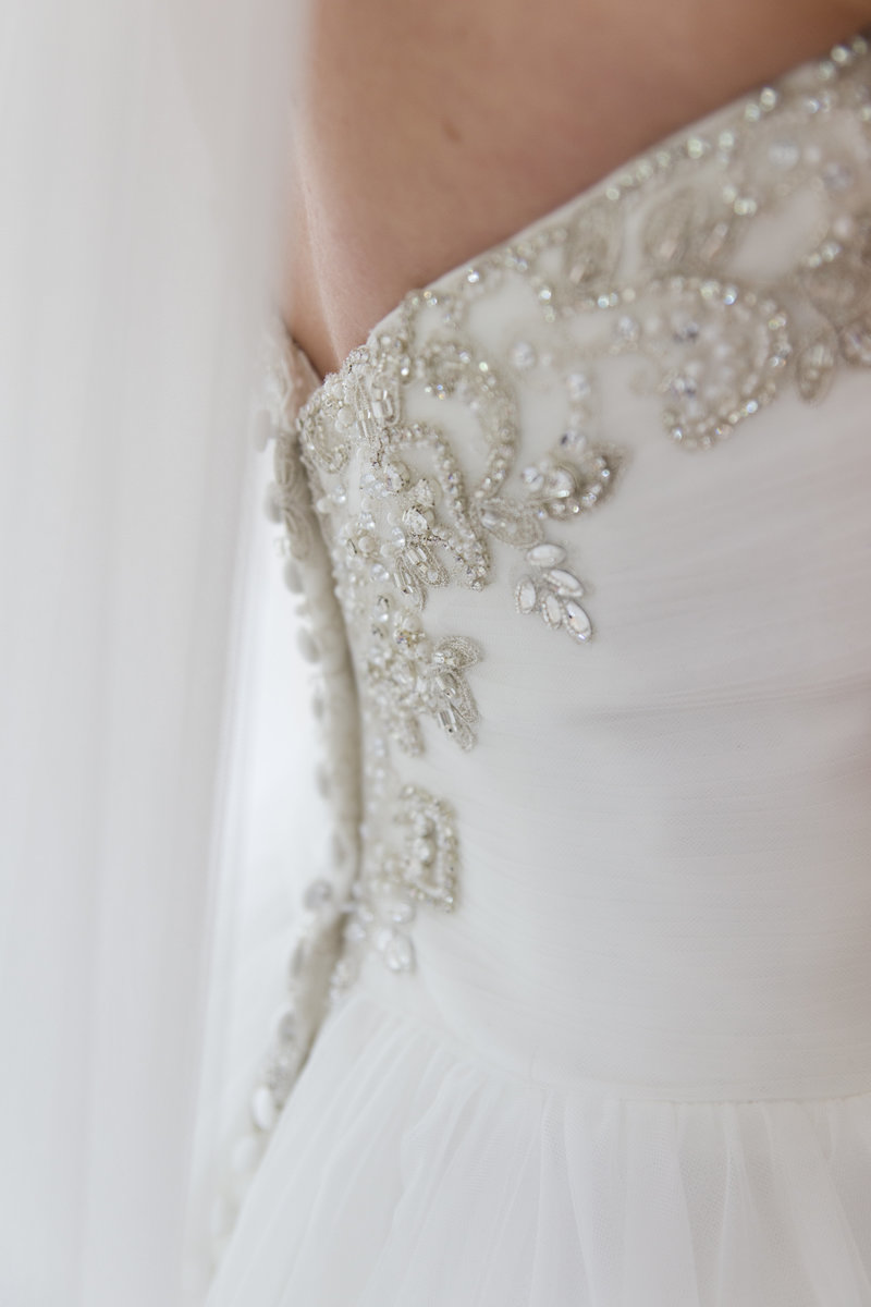 wedding dress detail beading on back