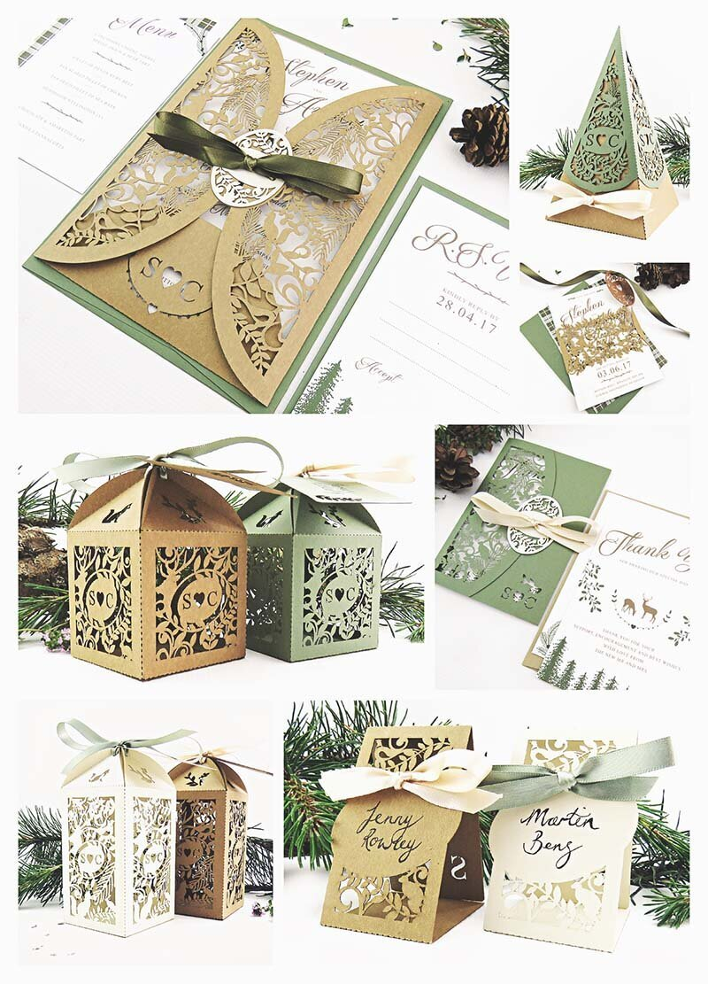 Rustic woodland wedding inspiration with forest creatures and pine tree laser cut details