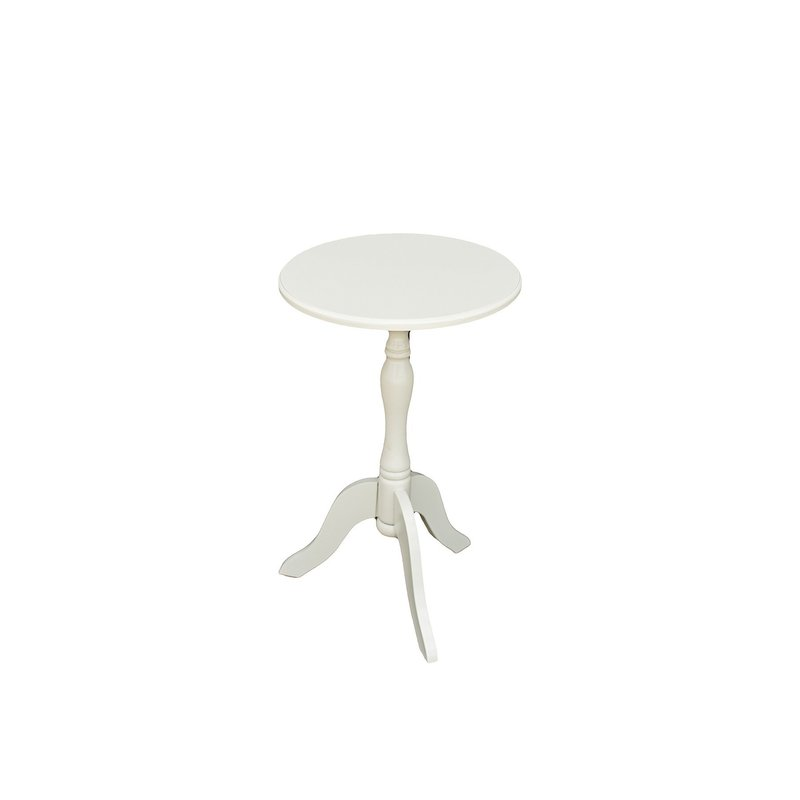 Cream colored, wooden, 3 pedestal table with circular top.
