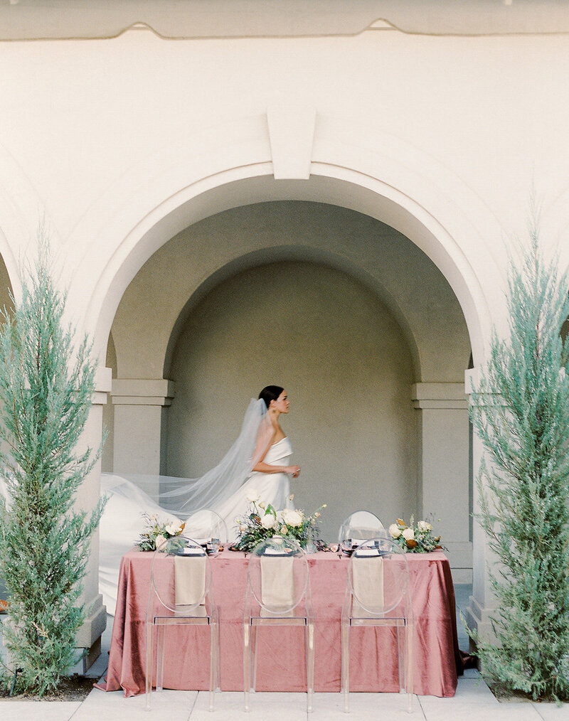 Fine Art Bride and Pink Tablescape