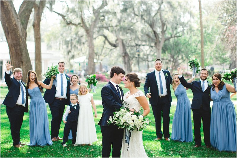 classic blue wedding in savannah