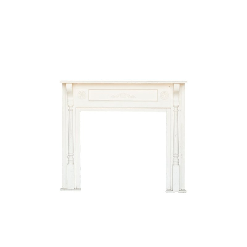 Off white wooden fireplace mantle.